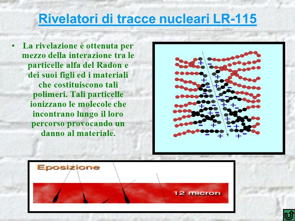 Rivelatori di tracce nucleari LR-115 La rivelazione è ottenuta per mezzo della interazione tra le particelle alfa del Radon e dei suoi figli ed i materiali che costituiscono tali polimeri.