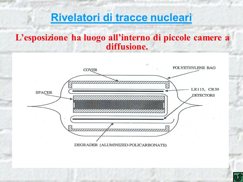 Rivelatori di tracce nucleari Lesposizione ha luogo allinterno di piccole camere a diffusione.