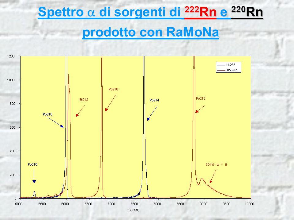 222 Rn e 220 Rn Spettro di sorgenti di 222 Rn e 220 Rn prodotto con RaMoNa