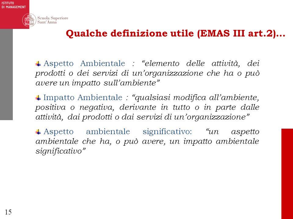 15 Qualche definizione utile (EMAS III art.2)… Aspetto Ambientale : elemento delle attività, dei prodotti o dei servizi di unorganizzazione che ha o p