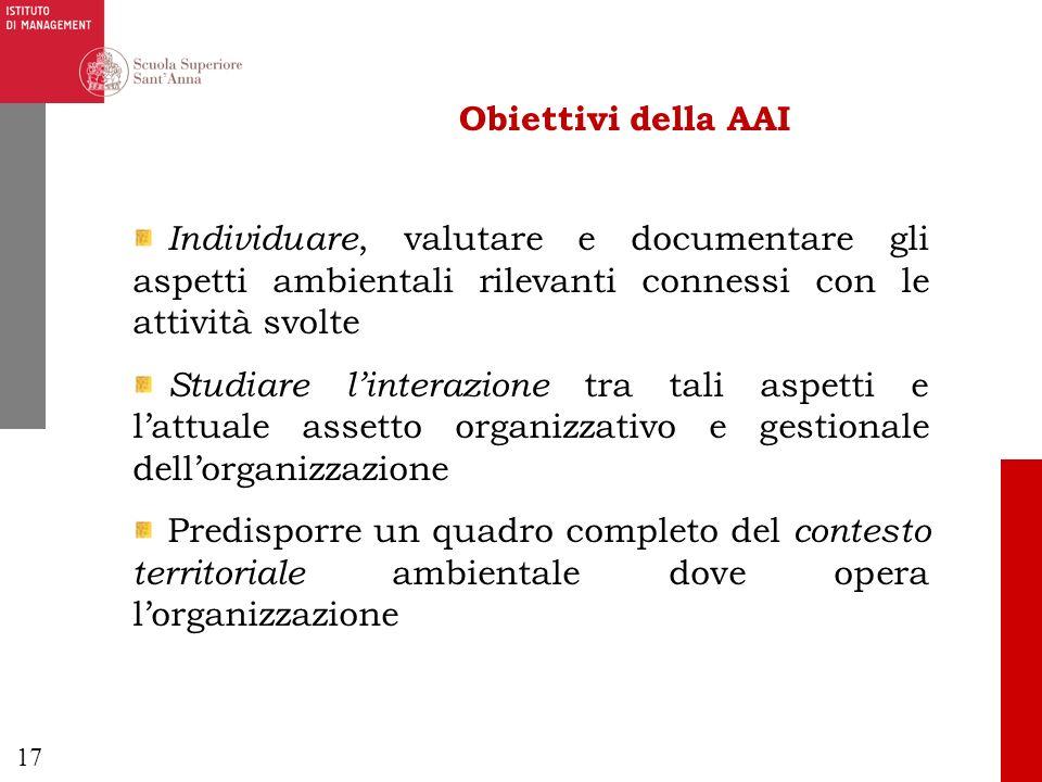 17 Obiettivi della AAI Individuare, valutare e documentare gli aspetti ambientali rilevanti connessi con le attività svolte Studiare linterazione tra