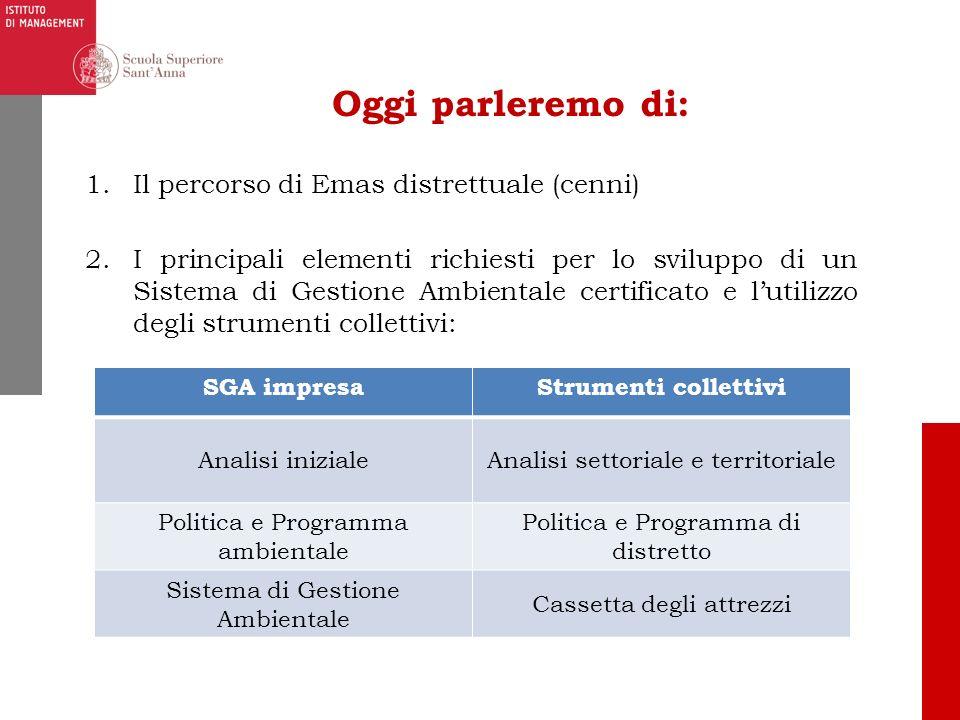 Oggi parleremo di: 1.Il percorso di Emas distrettuale (cenni) 2.I principali elementi richiesti per lo sviluppo di un Sistema di Gestione Ambientale c