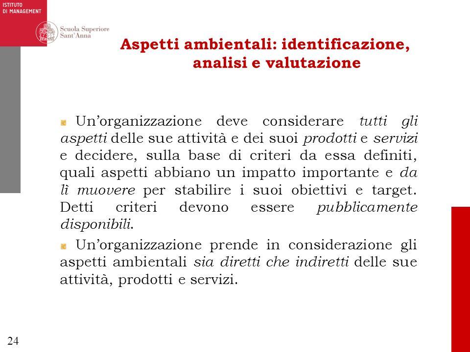 24 Aspetti ambientali: identificazione, analisi e valutazione Unorganizzazione deve considerare tutti gli aspetti delle sue attività e dei suoi prodot