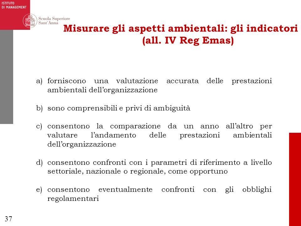 37 Misurare gli aspetti ambientali: gli indicatori (all. IV Reg Emas) a)forniscono una valutazione accurata delle prestazioni ambientali dellorganizza