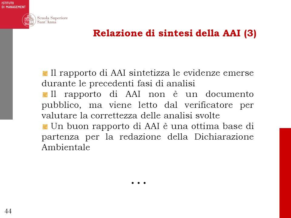 44 Relazione di sintesi della AAI (3) Il rapporto di AAI sintetizza le evidenze emerse durante le precedenti fasi di analisi Il rapporto di AAI non è