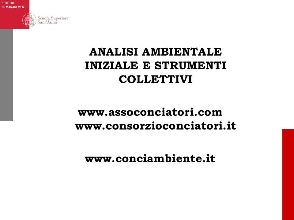 ANALISI AMBIENTALE INIZIALE E STRUMENTI COLLETTIVI www.assoconciatori.com www.consorzioconciatori.it www.conciambiente.it