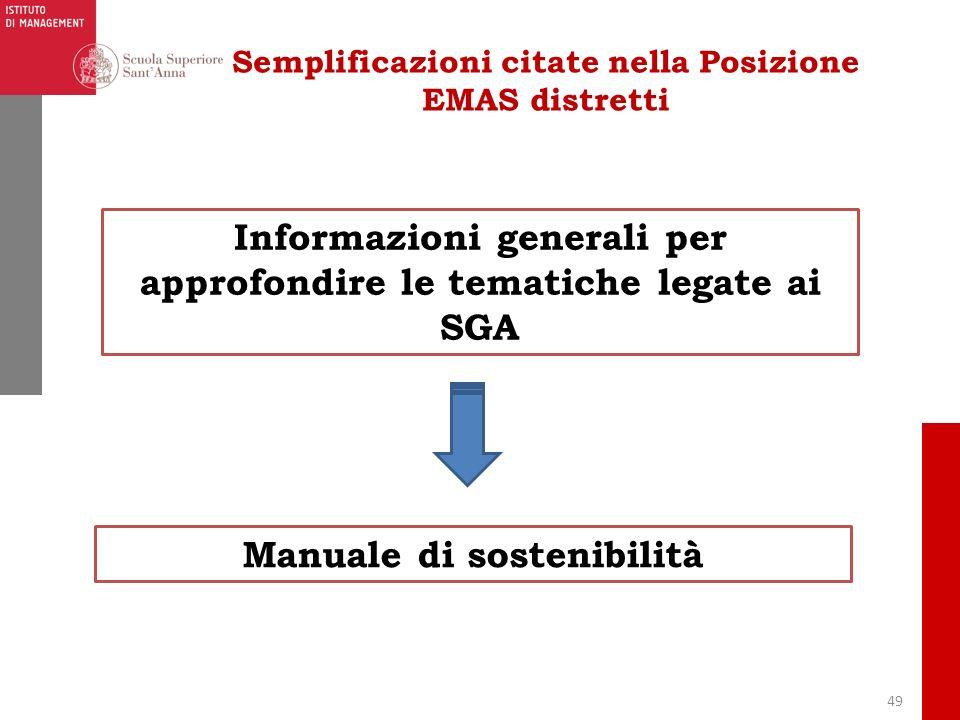 49 Semplificazioni citate nella Posizione EMAS distretti Informazioni generali per approfondire le tematiche legate ai SGA Manuale di sostenibilità