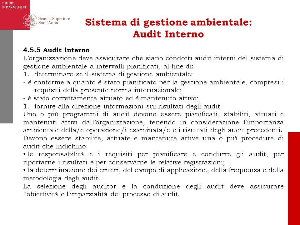 Sistema di gestione ambientale: Audit Interno 4.5.5 Audit interno Lorganizzazione deve assicurare che siano condotti audit interni del sistema di gest