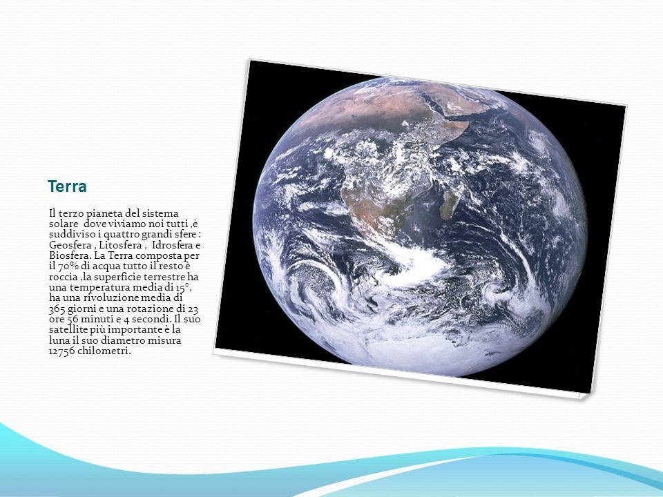 Terra Il terzo pianeta del sistema solare dove viviamo noi tutti,è suddiviso i quattro grandi sfere : Geosfera, Litosfera, Idrosfera e Biosfera. La Te