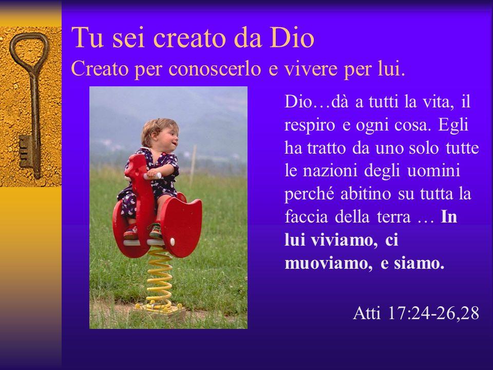 Tu sei creato da Dio Creato per conoscerlo e vivere per lui. Dio…dà a tutti la vita, il respiro e ogni cosa. Egli ha tratto da uno solo tutte le nazio