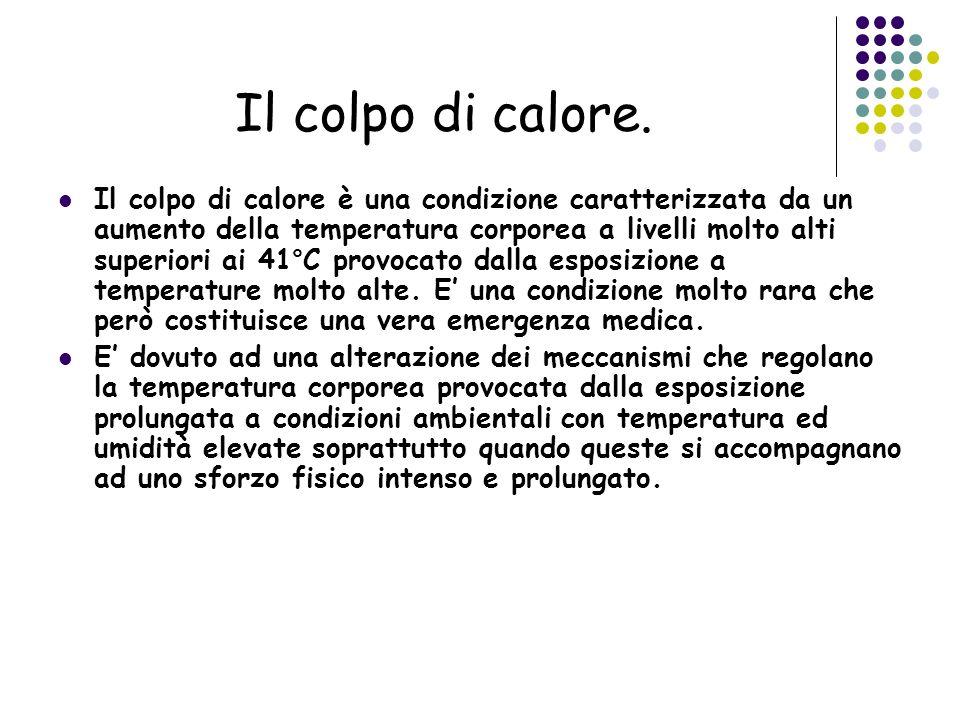 Il colpo di calore. Il colpo di calore è una condizione caratterizzata da un aumento della temperatura corporea a livelli molto alti superiori ai 41°C