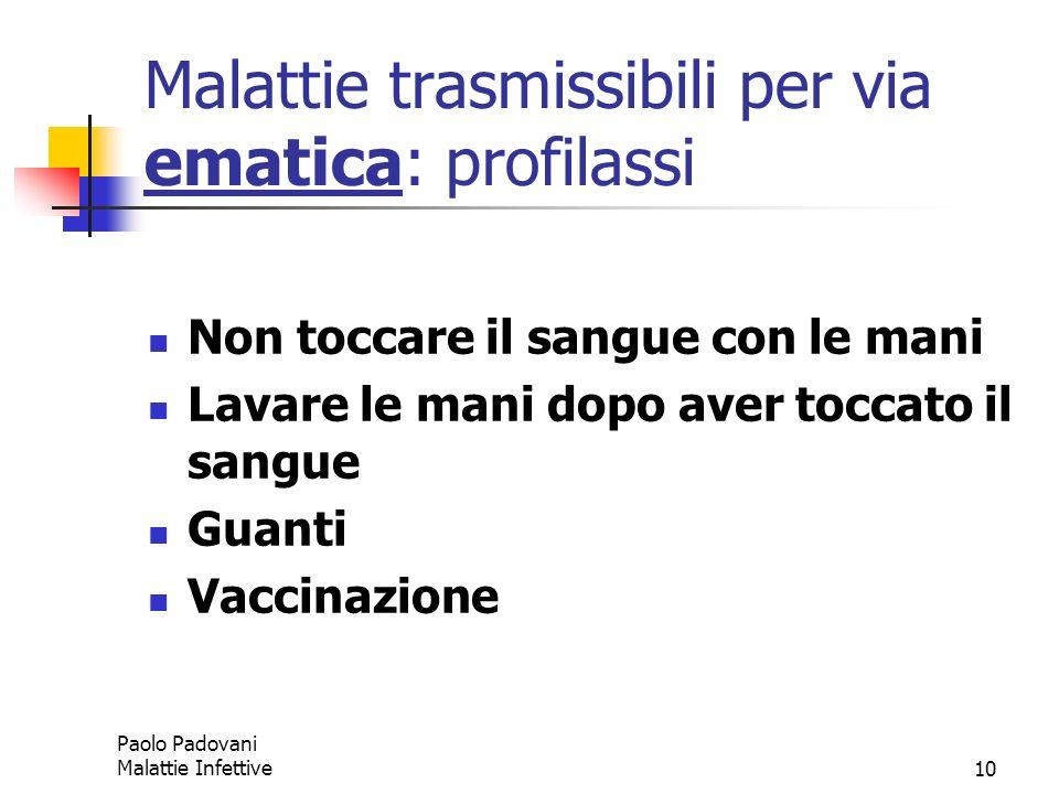 Paolo Padovani Malattie Infettive10 Malattie trasmissibili per via ematica: profilassi Non toccare il sangue con le mani Lavare le mani dopo aver tocc
