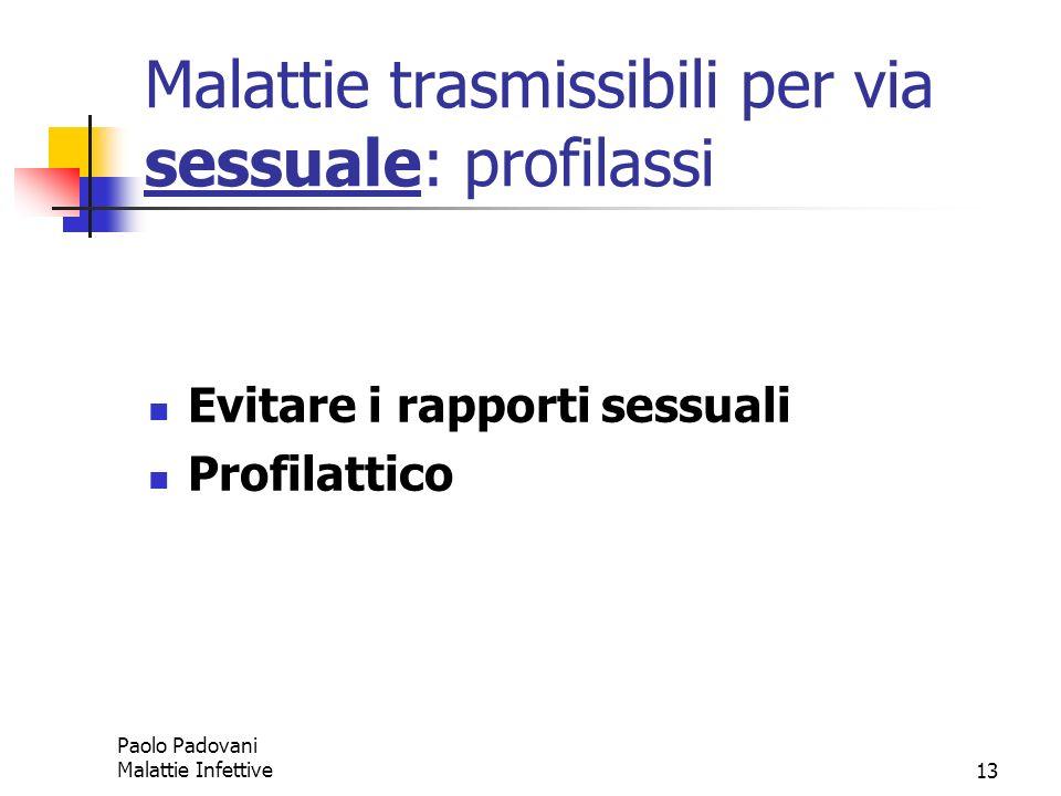 Paolo Padovani Malattie Infettive13 Malattie trasmissibili per via sessuale: profilassi Evitare i rapporti sessuali Profilattico