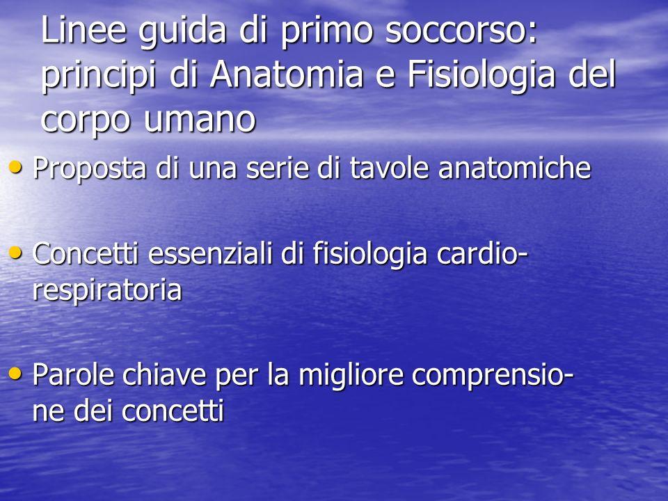 Linee guida di primo soccorso: principi di Anatomia e Fisiologia del corpo umano Proposta di una serie di tavole anatomiche Proposta di una serie di t