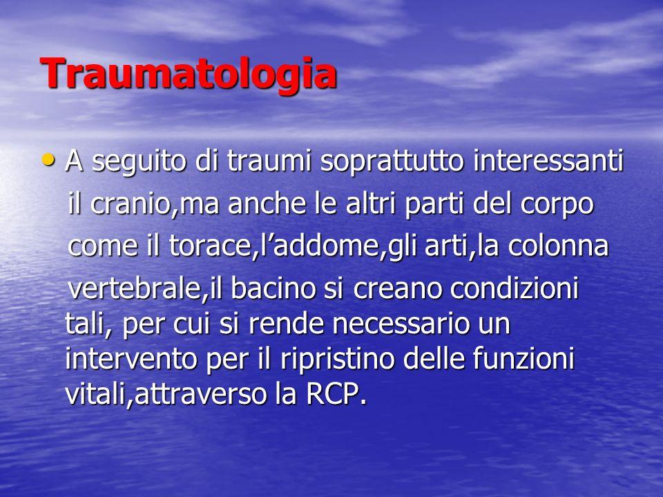 Traumatologia A seguito di traumi soprattutto interessanti A seguito di traumi soprattutto interessanti il cranio,ma anche le altri parti del corpo il