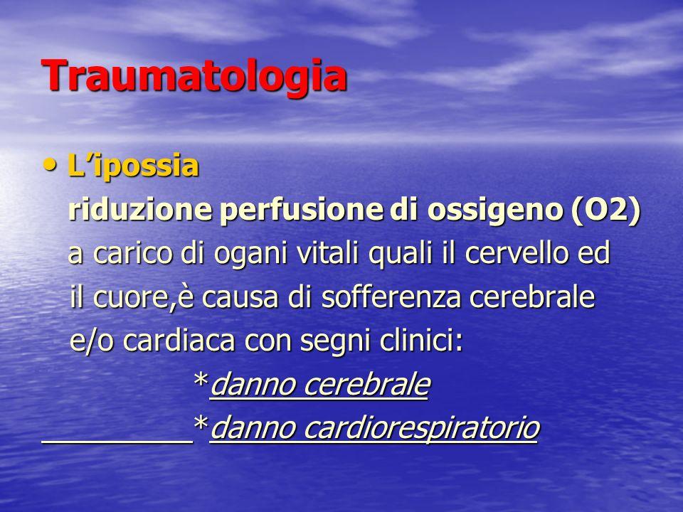Traumatologia Lipossia Lipossia riduzione perfusione di ossigeno (O2) riduzione perfusione di ossigeno (O2) a carico di ogani vitali quali il cervello