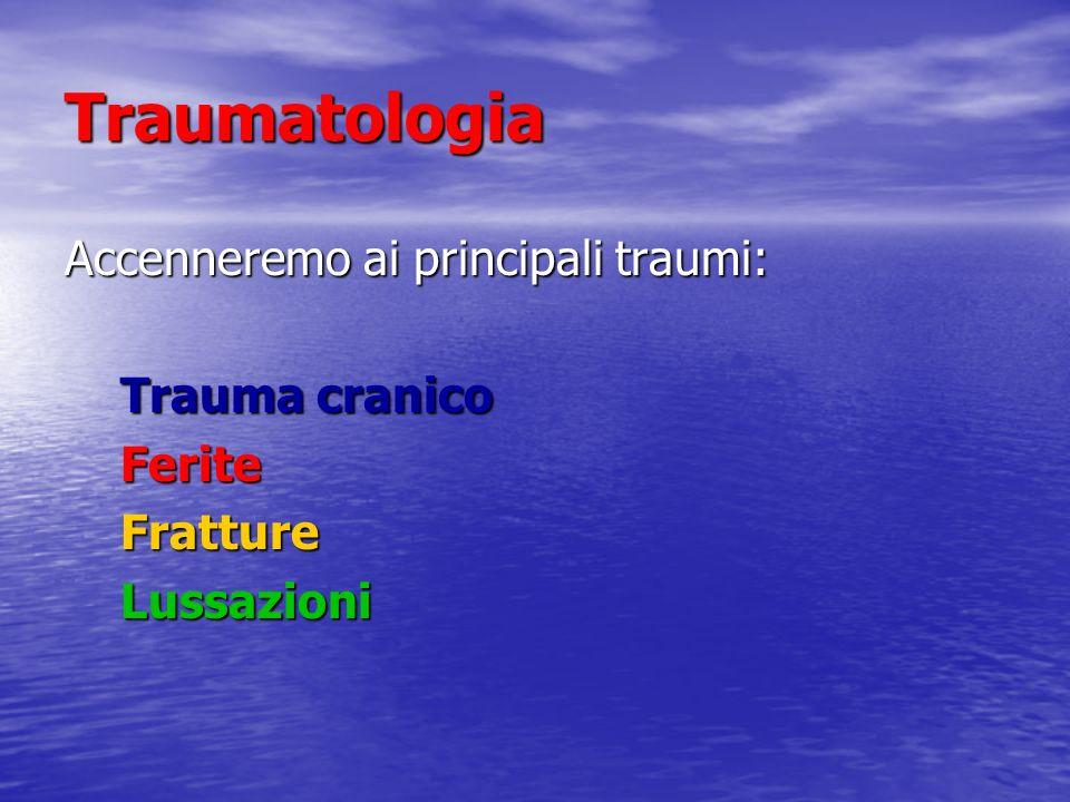 Traumatologia Accenneremo ai principali traumi: Trauma cranico Trauma cranico Ferite Ferite Fratture Fratture Lussazioni Lussazioni