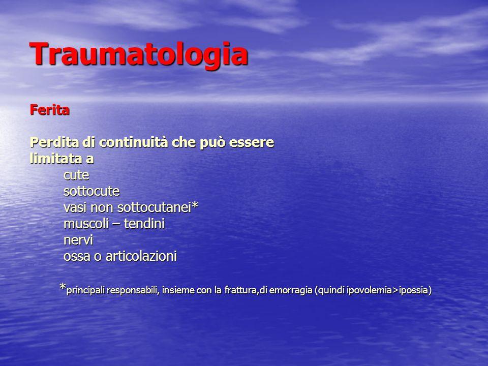 Traumatologia Ferita Perdita di continuità che può essere limitata a cute cute sottocute sottocute vasi non sottocutanei* vasi non sottocutanei* musco