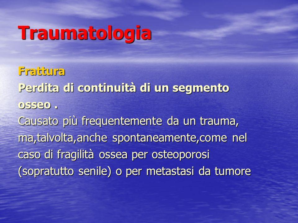 Traumatologia Frattura Perdita di continuità di un segmento osseo. Causato più frequentemente da un trauma, ma,talvolta,anche spontaneamente,come nel