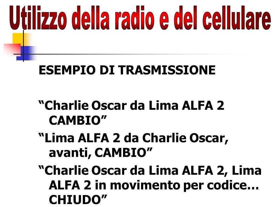 ESEMPIO DI TRASMISSIONE Charlie Oscar da Lima ALFA 2 CAMBIO Lima ALFA 2 da Charlie Oscar, avanti, CAMBIO Charlie Oscar da Lima ALFA 2, Lima ALFA 2 in