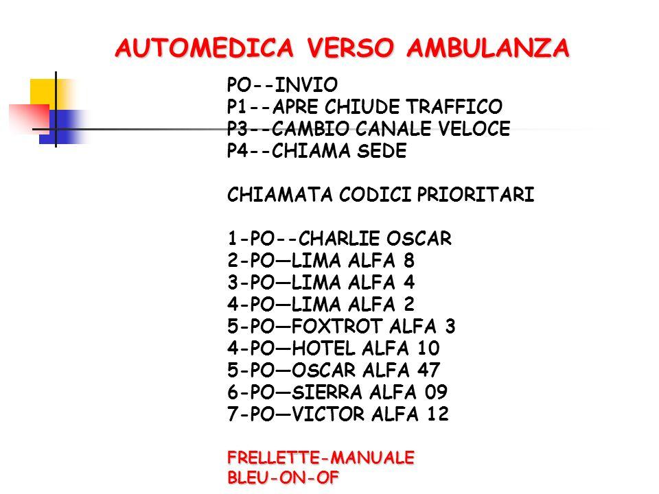 AUTOMEDICA VERSO AMBULANZA PO--INVIO P1--APRE CHIUDE TRAFFICO P3--CAMBIO CANALE VELOCE P4--CHIAMA SEDE CHIAMATA CODICI PRIORITARI 1-PO--CHARLIE OSCAR