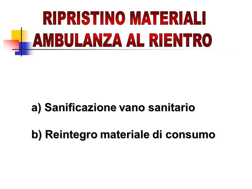 a) Sanificazione vano sanitario b) Reintegro materiale di consumo