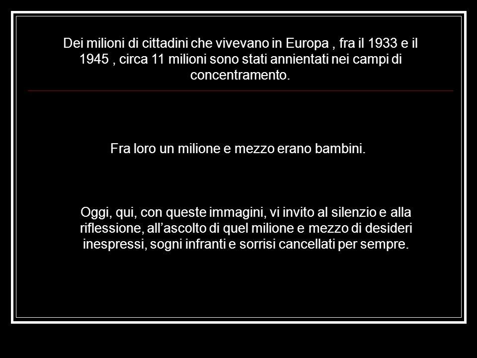 Dei milioni di cittadini che vivevano in Europa, fra il 1933 e il 1945, circa 11 milioni sono stati annientati nei campi di concentramento.