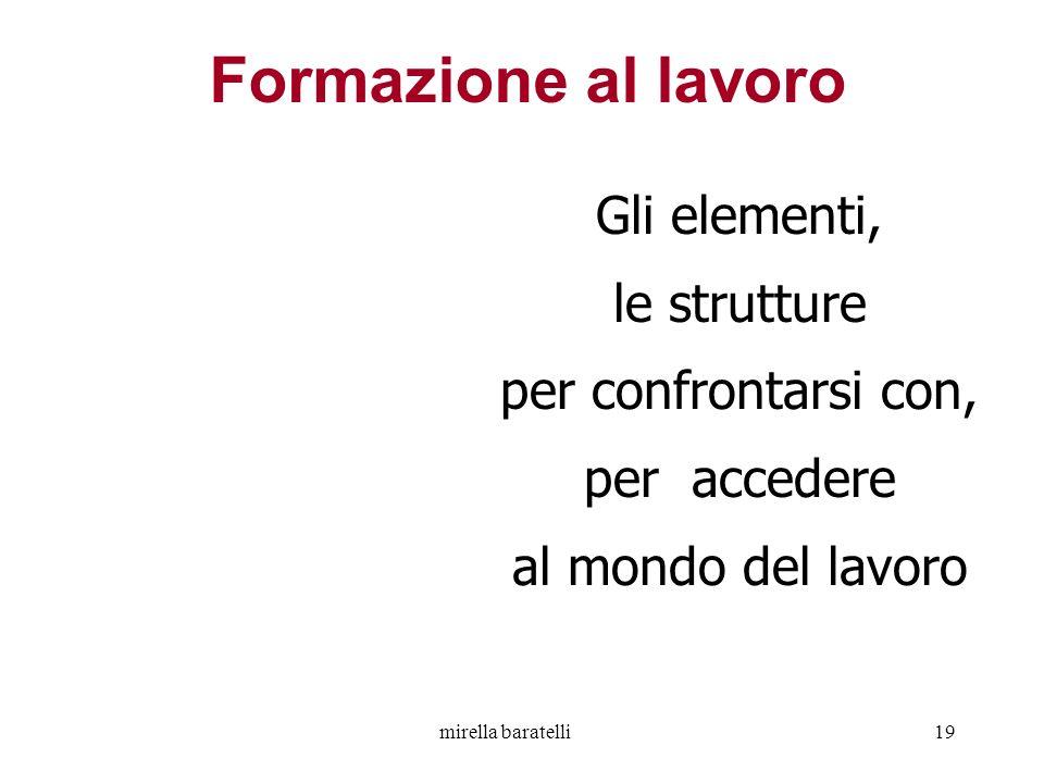 mirella baratelli19 Gli elementi, le strutture per confrontarsi con, per accedere al mondo del lavoro Formazione al lavoro