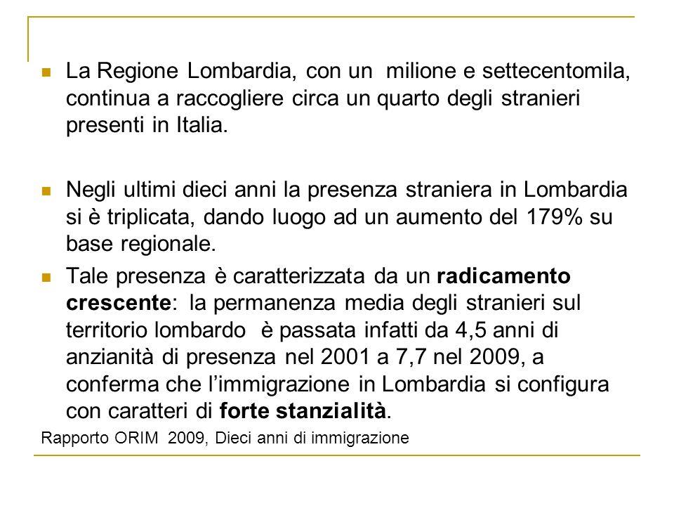 La Regione Lombardia, con un milione e settecentomila, continua a raccogliere circa un quarto degli stranieri presenti in Italia.