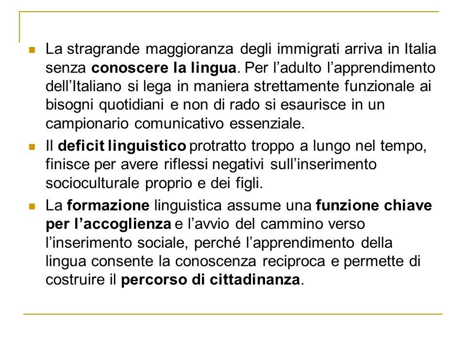 La stragrande maggioranza degli immigrati arriva in Italia senza conoscere la lingua.
