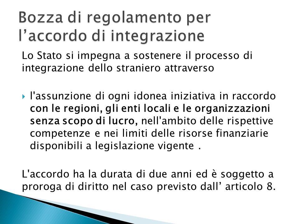 Lo Stato si impegna a sostenere il processo di integrazione dello straniero attraverso l assunzione di ogni idonea iniziativa in raccordo con le regioni, gli enti locali e le organizzazioni senza scopo di lucro, nell ambito delle rispettive competenze e nei limiti delle risorse finanziarie disponibili a legislazione vigente.
