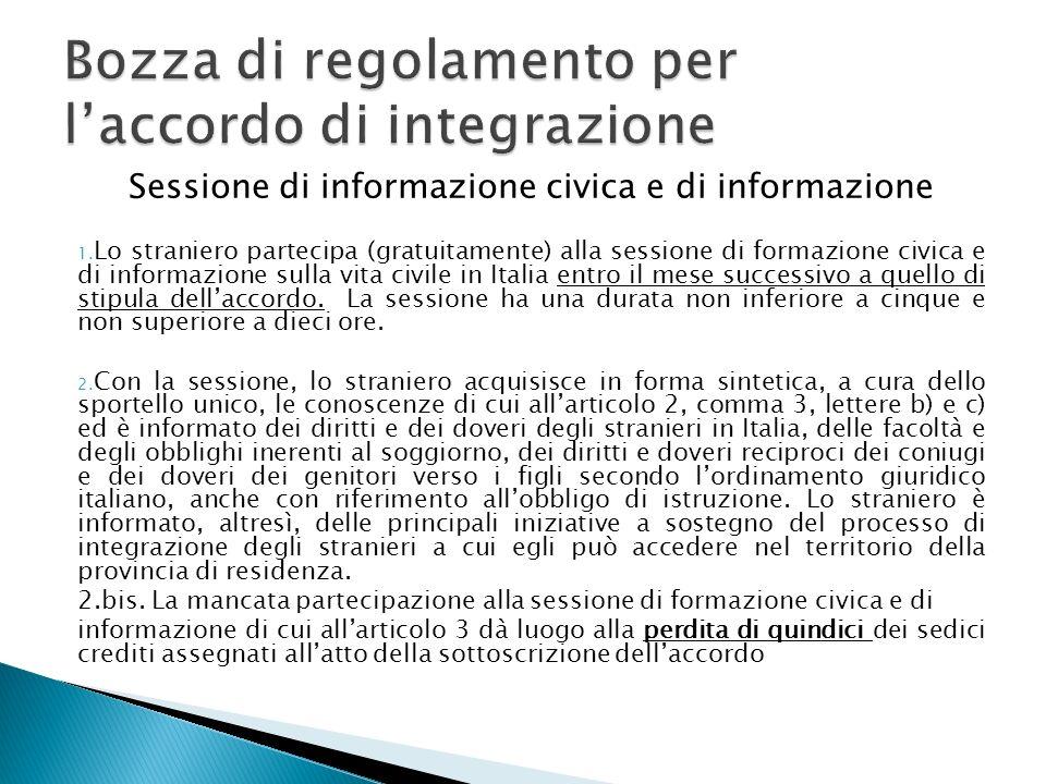 Sessione di informazione civica e di informazione 1.