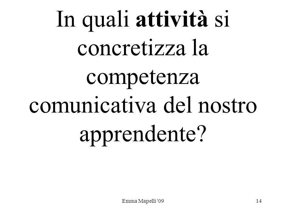 Emma Mapelli '0914 In quali attività si concretizza la competenza comunicativa del nostro apprendente?