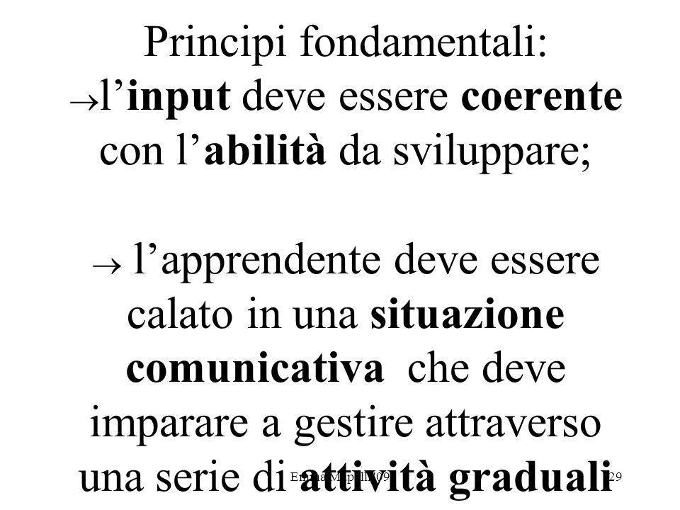 Emma Mapelli '0929 Principi fondamentali: linput deve essere coerente con labilità da sviluppare; lapprendente deve essere calato in una situazione co