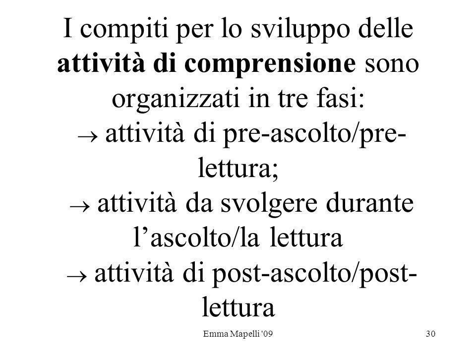 Emma Mapelli '0930 I compiti per lo sviluppo delle attività di comprensione sono organizzati in tre fasi: attività di pre-ascolto/pre- lettura; attivi