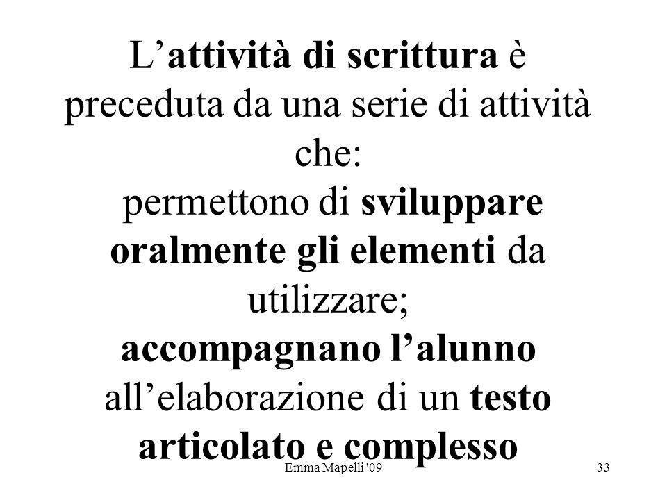 Emma Mapelli '0933 Lattività di scrittura è preceduta da una serie di attività che: permettono di sviluppare oralmente gli elementi da utilizzare; acc