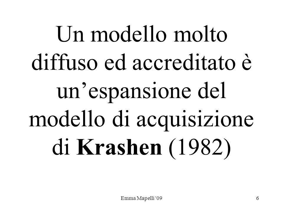 Emma Mapelli '096 Un modello molto diffuso ed accreditato è unespansione del modello di acquisizione di Krashen (1982)