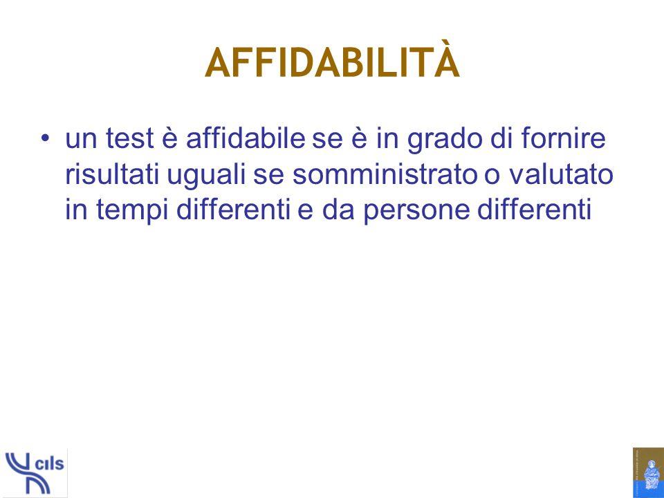AFFIDABILITÀ un test è affidabile se è in grado di fornire risultati uguali se somministrato o valutato in tempi differenti e da persone differenti