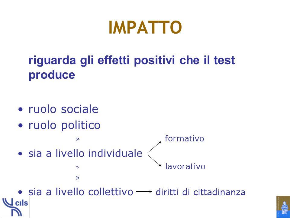 IMPATTO riguarda gli effetti positivi che il test produce ruolo sociale ruolo politico » formativo sia a livello individuale » lavorativo » sia a livello collettivo diritti di cittadinanza