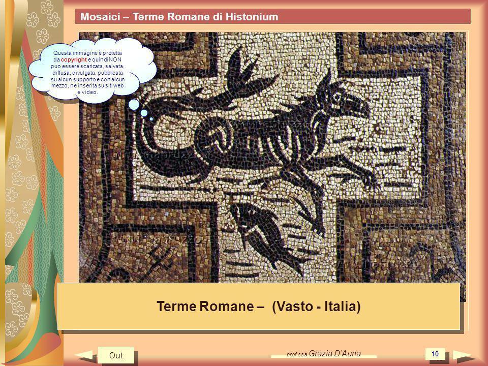 prof.ssa Grazia DAuria 10 Mosaici – Terme Romane di Histonium Terme Romane – (Vasto - Italia) Out Questa immagine è protetta da copyright e quindi NON puo essere scaricata, salvata, diffusa, divulgata, pubblicata su alcun supporto e con alcun mezzo, ne inserita su siti web e video.