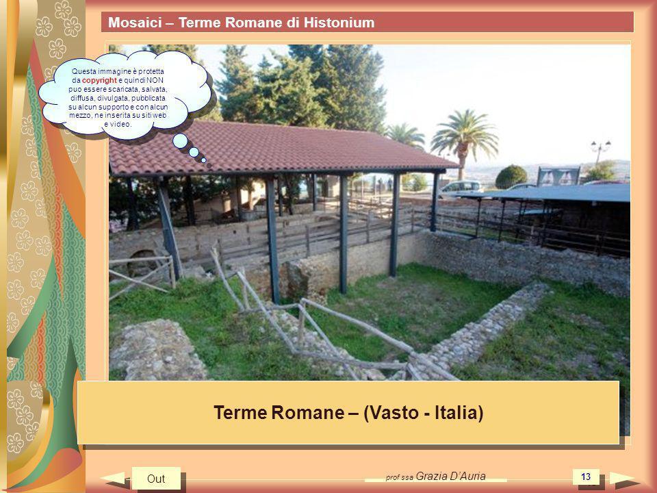 prof.ssa Grazia DAuria 13 Mosaici – Terme Romane di Histonium Terme Romane – (Vasto - Italia) Out Questa immagine è protetta da copyright e quindi NON