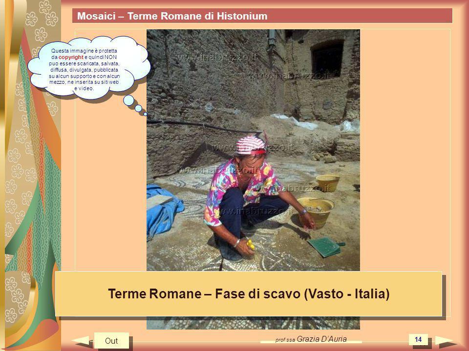 prof.ssa Grazia DAuria 14 Mosaici – Terme Romane di Histonium Terme Romane – Fase di scavo (Vasto - Italia) Out Questa immagine è protetta da copyright e quindi NON puo essere scaricata, salvata, diffusa, divulgata, pubblicata su alcun supporto e con alcun mezzo, ne inserita su siti web e video.