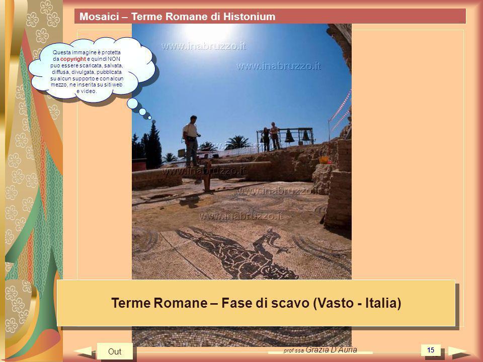 prof.ssa Grazia DAuria 15 Mosaici – Terme Romane di Histonium Terme Romane – Fase di scavo (Vasto - Italia) Out Questa immagine è protetta da copyrigh