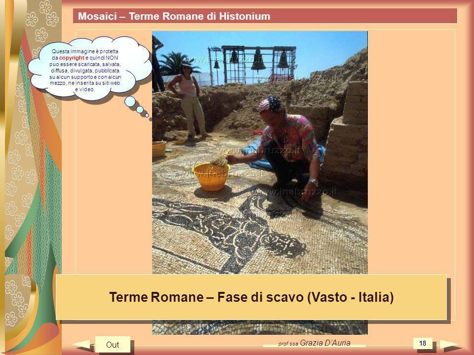 prof.ssa Grazia DAuria 18 Mosaici – Terme Romane di Histonium Terme Romane – Fase di scavo (Vasto - Italia) Out Questa immagine è protetta da copyrigh