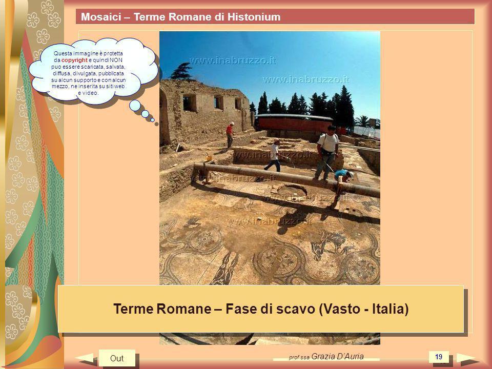 prof.ssa Grazia DAuria 19 Mosaici – Terme Romane di Histonium Terme Romane – Fase di scavo (Vasto - Italia) Out Questa immagine è protetta da copyrigh