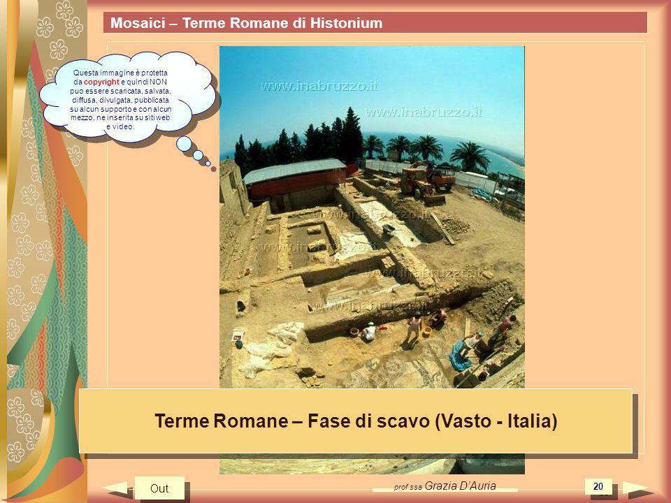 prof.ssa Grazia DAuria 20 Mosaici – Terme Romane di Histonium Terme Romane – Fase di scavo (Vasto - Italia) Out Questa immagine è protetta da copyrigh