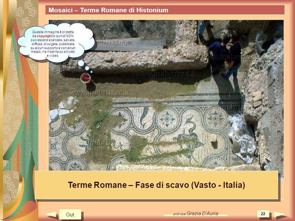 prof.ssa Grazia DAuria 22 Mosaici – Terme Romane di Histonium Terme Romane – Fase di scavo (Vasto - Italia) Out Questa immagine è protetta da copyrigh