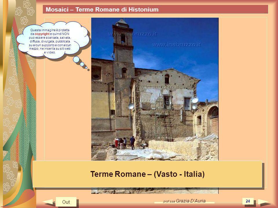 prof.ssa Grazia DAuria 24 Mosaici – Terme Romane di Histonium Terme Romane – (Vasto - Italia) Out Questa immagine è protetta da copyright e quindi NON