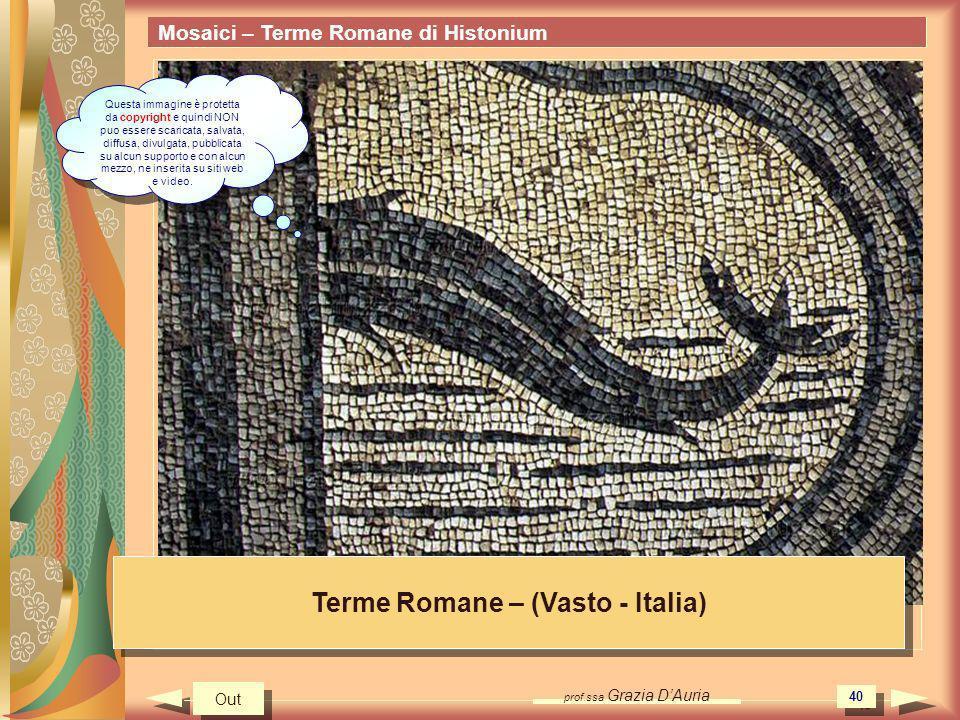 prof.ssa Grazia DAuria 40 Mosaici – Terme Romane di Histonium Terme Romane – (Vasto - Italia) Out Questa immagine è protetta da copyright e quindi NON puo essere scaricata, salvata, diffusa, divulgata, pubblicata su alcun supporto e con alcun mezzo, ne inserita su siti web e video.