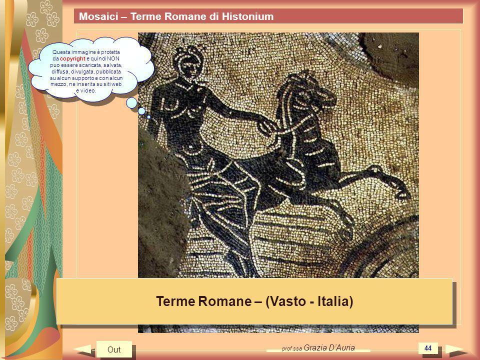 prof.ssa Grazia DAuria 44 Mosaici – Terme Romane di Histonium Terme Romane – (Vasto - Italia) Out Questa immagine è protetta da copyright e quindi NON